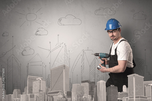 City plan with worker.