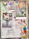 Sfondo con misteriose mappe e cartoline vintage,mongolfiere,disegni,collage,vecchi francobolli e manoscritti. Souvenirs di viaggio