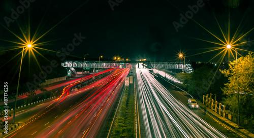 Foto op Canvas Nacht snelweg light trail