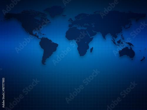 Fotobehang Wereldkaarten Abstract Blue Digital World