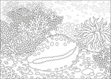 A spotted shell on a coral reef in a tropical sea, a black and white vector illustration in cartoon style for a coloring book