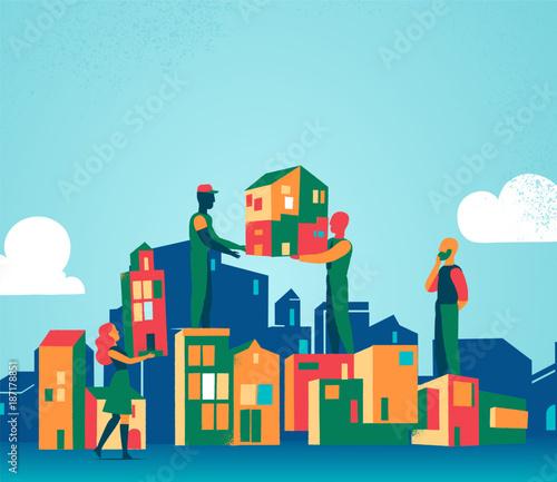 Wall mural Costruiamo insieme la nostra città ideale