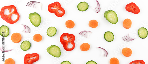 Deurstickers Verse groenten Abstract composition of vegetables. Vegetable pattern. Food background.Flat lay. Wide photo.