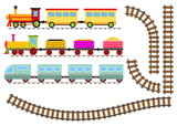 Cartoon train with wagons and railway. The toy train goes by rail. - 187188221