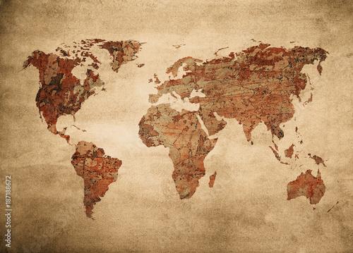 Staande foto Wereldkaart grunge map of the world.