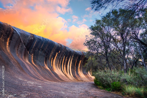 Foto op Canvas Lavendel Sunset at Wave Rock near the town of Hyden, in the south west of Western Australia, Australia.