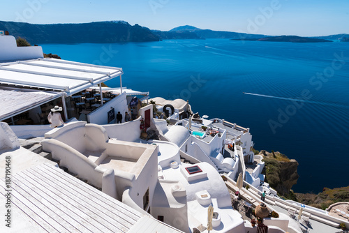 Foto op Aluminium Santorini Santorini, Greece. White architecture on Santorini island, Greece. Summer landscape, sea view.