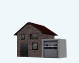 Wohnhaus mit Garage in seitenansicht auf weiß isoliert. 3d render - 187191857