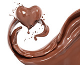 Splash chocolate abstract background, chocolate heart 3d rendering - 187192077