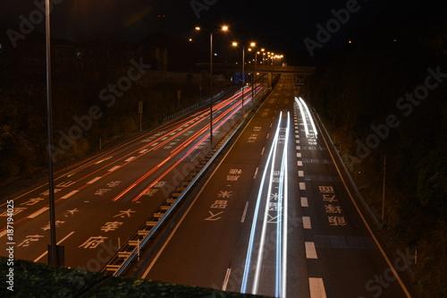 Fotobehang Nacht snelweg 夜の道