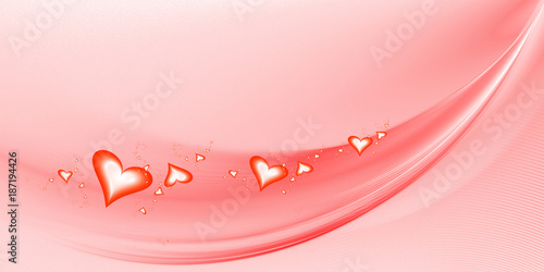 Poster Abstract wave Abstract fractal background with hearts