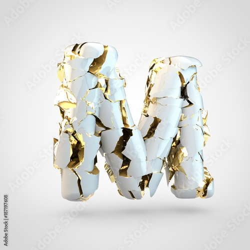 Cracked white letter M uppercase with gold inside.