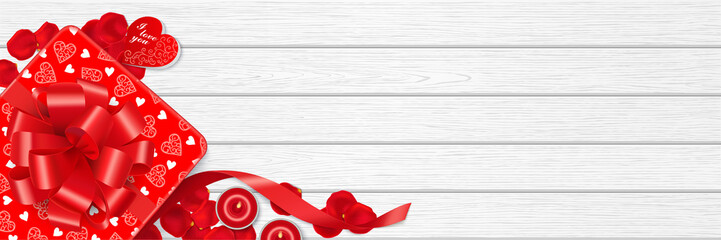 Red gift box, rose petals, romantic candles and copy space on the white wooden table. Top view. Valentine's Day background. Web banner with aspect ratio 3:1. Vector