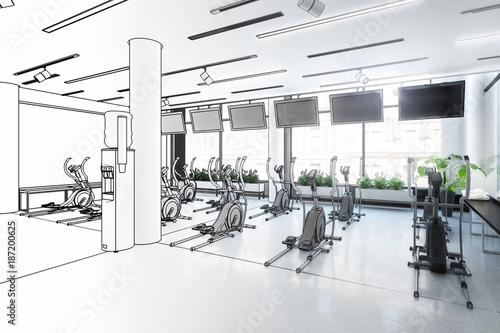 Poster Crosstrainer im Fitness-Zenter (Entwurf)