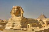 The Great Sphinx and the Pyramid of Kufu, Giza, Egypt