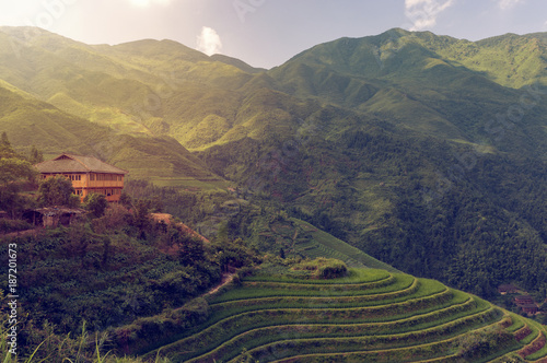 Fotobehang Rijstvelden Beautiful view Longsheng Rice Terraces near the of the Dazhai village in the province of Guangxi, China; Concept for travel in China and most beautiful places in Guilin