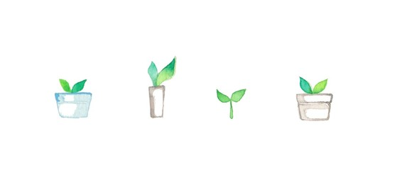 グリーンの葉っぱ4種 © izumikobayashi