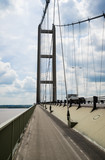 Looking South along the Humber Bridge cycle and pedestrian path,  England, UK. - 187202636