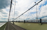 Looking South along the Humber Bridge cycle and pedestrian path,  England, UK. - 187202698