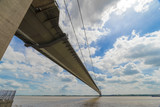 Humber Bridge, looking south from Yorkshire to Lincolnshire, England, uk - 187202806