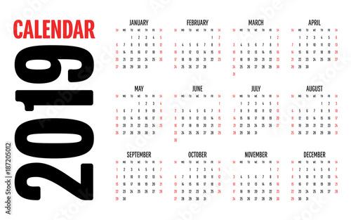 2019 Calendar Design Template Vector Illustration Simple Clear Week Start from Sunday