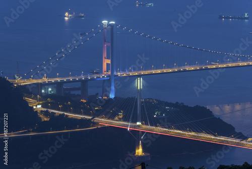 Tsing ma Bridge and Ting Kau Bridge in Hong Kong city at dusk