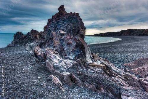 Foto op Plexiglas Schipbreuk Lava beach, Western Iceland