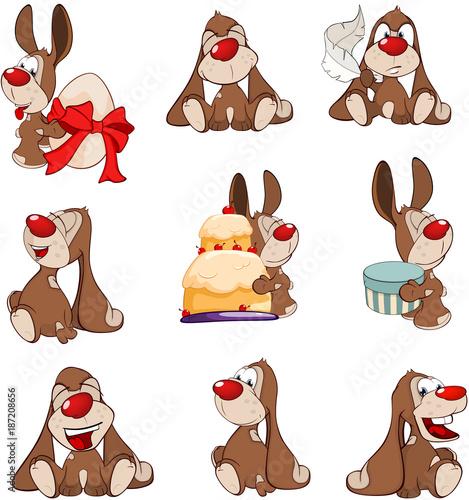 Papiers peints Chambre bébé Set of Cartoon Illustration. A Cute Rabbits for you Design