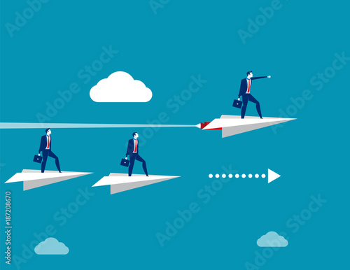Competition. Business people in paper plane. Concept business vector illustration.