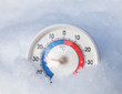 Frozen thermometer shows minus 29 Celsius degree extreme cold winter weather concept