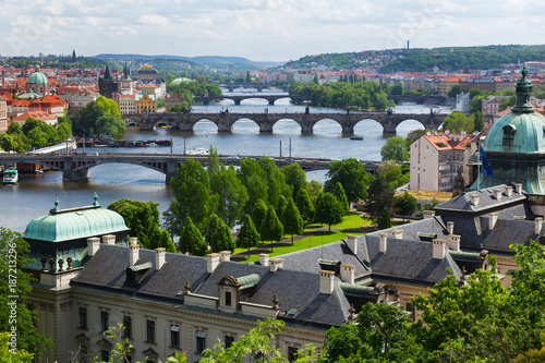 Poster Praag Prague cityscape, view of the dold town, Czech Republic