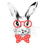 Hipster rabbit. Hand drawn watercolor sketch portrait  - 187216274