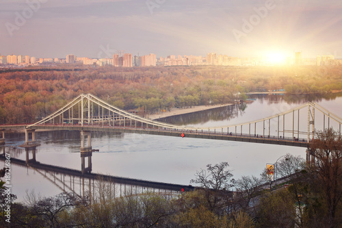 Kiev City, landscape, view of the bridge from above. Beautiful views of the Dnipro River - 187216867