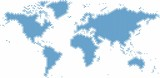 Blue dots world map on white background, vector illustration.