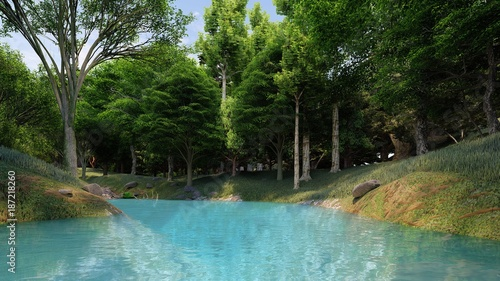 clean river with blue water in the forest at the daytime
