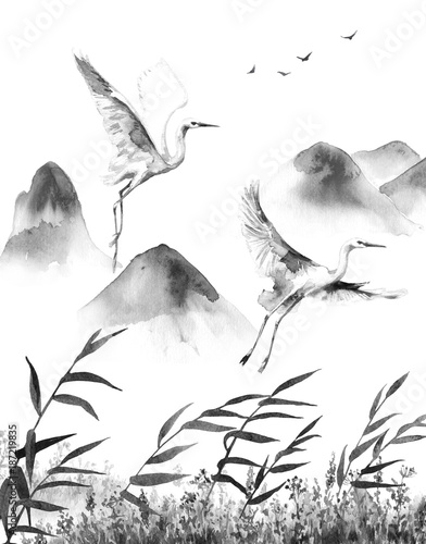Mountains Scene with Flying Storks - 187219835