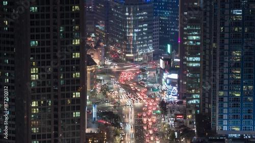 Fridge magnet City traffic lights at night time. Seoul, South Korea. Time lapse. 4K, UHD