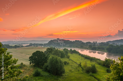 Poster Koraal Colorful morning landscape in the morning, Poland, Tyniec near Krakow