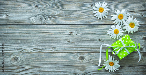 Foto op Canvas Snelle auto s Gift box and daisy flowers on old wooden planks