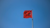 Turkish flag over blue sky in Istanbul, Turkey, slow motion, 240 fps (8x), hd 1080p video footage - 187221457