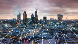 City of London at sunset. Illustration with communication and business icons, network connections concept. - 187224620