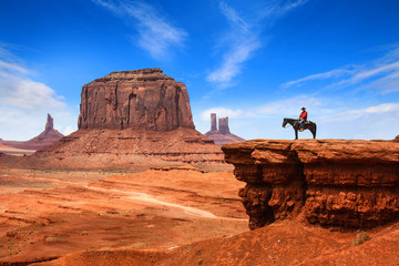 Monument Valley with Horseback rider / Utah - USA