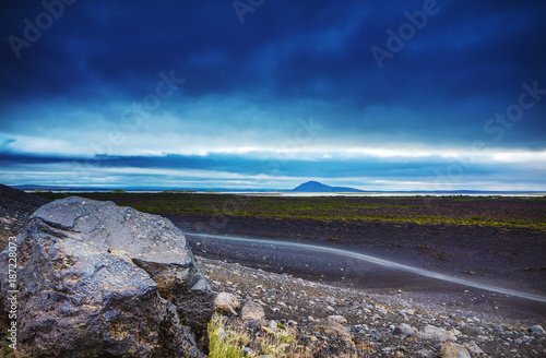 Foto op Canvas Lavendel Volcanic fields covered with lava and rock. Picturesque Icelandic landscape.