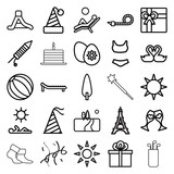 Holiday icons. set of 25 editable outline holiday icons