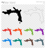 Peter Island high detailed map. Island silhouette icon. Isolated Peter Island black map outline. Vector illustration. - 187239862
