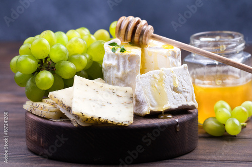 French cheeses on wooden table - 187241280