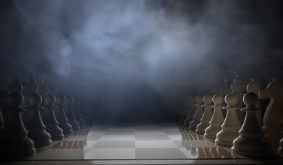 Chess game begins. Pieces standing in rows. 3D rendered illustration.