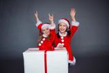 two happy girl christmas dress big gift box - 187244451