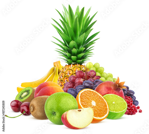 Assortment of exotic fruits isolated on white background - 187245809
