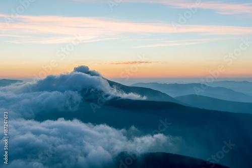 Fotobehang Groen blauw Dramatic Twilight Mountains view with copy space